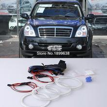 4pcs Super bright red blue yellow white 3528 smd led angel eyes halo rings car styling for Ssangyong Rexton 2006 to 2011