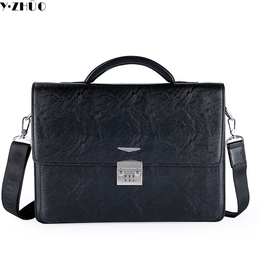 brand business men leather briefcase Combination lock handbags 14 men crossbody Laptop bags men shoulder messenger bags<br>