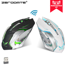 ZERODATE X70 USB Wireless Computer Gaming Mouse 2400DPI Colorful Backlight Optical Ergonomic Mouse Gamer Rechargeable pk V30(China)