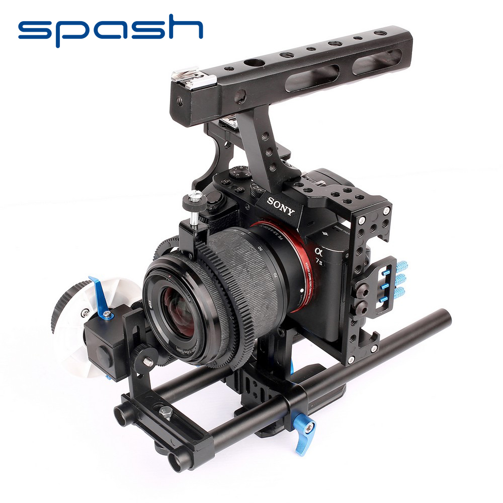 spash 15mm Rod Rig DSLR Camera Video Cage Kit Top Handle Grip Follow Focus for Sony A7SII A7R A7S A7 A7RII Panasonic GH4 GH3 title=