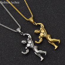 fashion lychee Stainless Steel Running Exercise Man Pendant Necklaces Women 2 Colors Necklaces Jewlery Gifts For Men