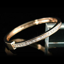 8 Carat Princess Cut Rose Gold Color Metal Bangle CSB085