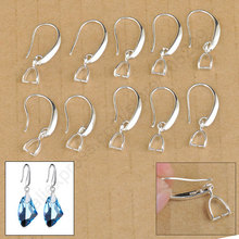JEXXI Wholesale 50X Lot Jewelry Findings 925 Sterling Silver Earring Bail Pinch Smooth Hook Ear Wires For Fine Crystal Swa(China)