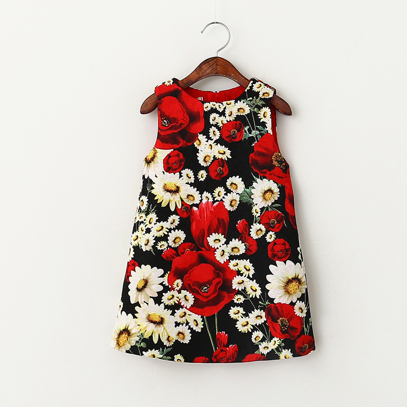 Christmas Dress Autumn And Spring Red Happy Color Flower Printing New Design Item Baby Girls Clothes Princess Party Dress 3-7Y<br><br>Aliexpress