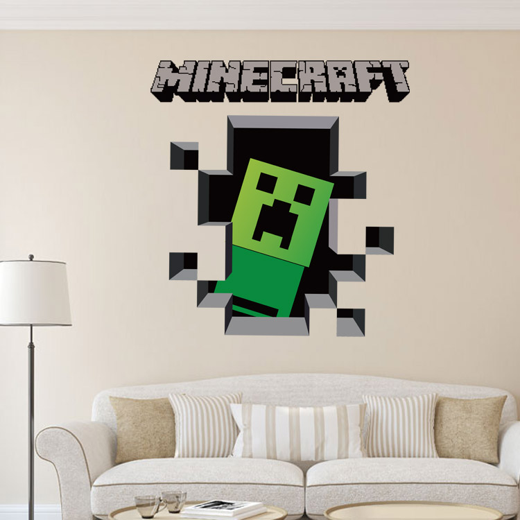 HTB1HD8hjgoQMeJjy0Fnq6z8gFXaJ - Newest Minecraft Wall Stickers 3D Wallpapers Kids Room Decals Minecraft Steve Home Decoration Popular Games Home Free Shipping