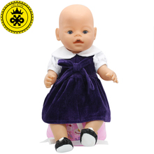 Fit 43cm Zapf Baby Born Doll Clothes Purple Dress Get Beautiful Shoes Christmas Gift Princess Doll Accessories Fashion 208(China)