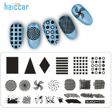 HAICAR 1PC Fashion 9 styles Women Reusable Nail Art Manicure Rectangle Nail Art Stamping Template Plates Manicure Tool Pretty