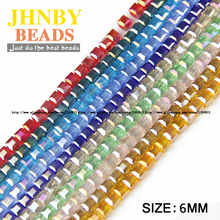 JHNBY High quality 6mm 50pcs Square shape Upscale Austrian crystal beads loose quadrate glass ball supply bracelet Jewelry DIY()