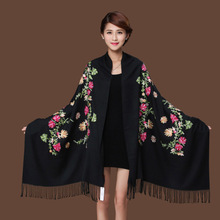 New Black Embroider Flower Pashmina Cashmere Scarf For Women Winter Warm Fine Tassels Scarf Shawl Fashion Shawl Scarves(China)