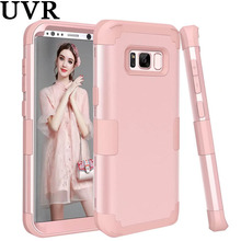 UVR 3 in 1 Hard PC Soft Silicone Armored Hybrid Rose Gold Pink Case for Samsung S8 Plus Cover 360 Degree Full Protect Case(China)
