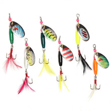 6pcs/lot Spoon Metal Fishing Lures Set Spinner Baits CrankBait Bass Hooks Fishing Tackle Box Accessory Tool