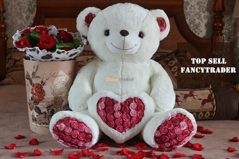 Fancytrader 2015 New High Quality Bear Toy 29  75cm Giant Plush Stuffed Rose Love Heart Bear Kids Gift, Free Shipping FT90242<br><br>Aliexpress