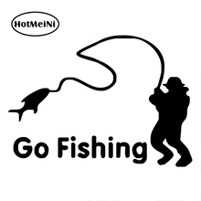 HotMeiNi Cartoon Go Fishing Night Reflective Car Stickers Die Cut Vinyl Netbook Decal Window Words Car Body Stickers(China)