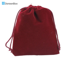 "Doreen Box New! Dark Red Black Blue Coffee Velveteen Pouch Jewelry Bags With Drawstring 12x10cm(4-3/4""x3-7/8""), 10PCs (B15847)"