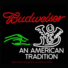 Neon Sign Budweiser An American Tradition Neon Bulbs Handcrafted Beer Display Neon Tubes Personalized Custom Design Impact 31x24(China)