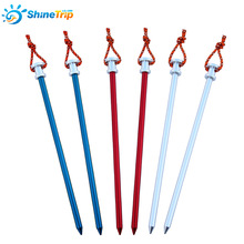 Shinetrip Tent Peg Stake Aluminium Alloy Nails With Rope For Large Tent Camping Equipment Outdoor Tent Accessories 6Pcs/Lot 23cm(China)
