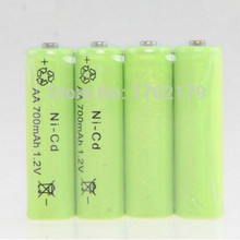 4pcs /lot NI-CD AA 1.2V 700mAh Rechargeable Battery for outdoor Gutter Garden Outdoor Lawn Fence Wall led Solar lamp(China)