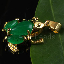 New Free Shipping Fashion Jewelry 19X23MM Frog Natural Green Jade Pendant 1Pcs K016