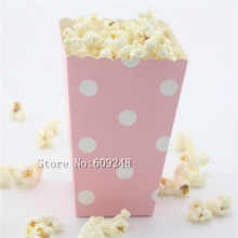 24pcs White Polka Dot Light Pink Paper Popcorn Boxes,Party Favor Boxes,Candy Buffet Treat Cups,Bulk,Baby Shower,Birthday,Wedding