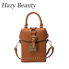Hazy beauty Pu leather women box handbag easy chic and hot sell lady corss body bag good quality brown famina bolsa new DH107