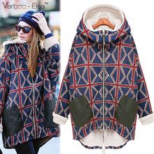 2017 New women clothes spring hoodies Parka Casual Women Tartan Thick Lamb Wool Hooded winter Warm Parka Coats Outerwear Femme
