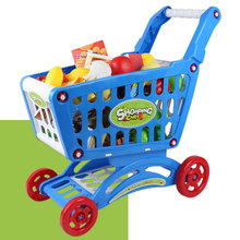 Shopping Cart Fruit Vegetables Simulation Kids Children Market Pretend(China)