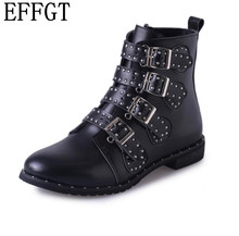 EFFGT 2017 New fashion Leather Rivets Boots zipper rivet Buckle Ankle Boots Studded Decorated Motorcycle woman Boots H118(China)
