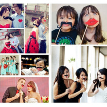31pcs/Lot DIY Mask Photo Booth Props Set Funny Mustache Beards Red Lips Costume for Wedding Birthday Party Funny Pictures