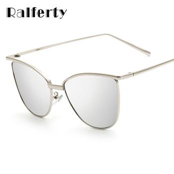 Ralferty Simples Único Olho de Gato Óculos De Sol Das Mulheres Quadro Rosa De Ouro Espelhado Óculos de Sol Cateye Tons Oculos luneta femme 2262