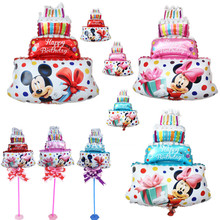 3pcs/lot Mini Pink blue Mickey Minnie Foil Balloons Classic Toy inflatable Air ballon happy birthday balon party supplies Cake