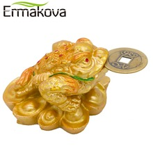 ERMAKOVA New Mini Feng Shui Three Legged Money Frog Fortune Lucky Toad with Chinese Coin Resin Craft Golden Color Home Decor