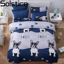 Solstice Cartoon Panda Dog Pattern Boy Girl Adult Child Bedclothes 4pcs Bedding Sets Bed Cover Bed Sheet Duvet Cover Pillowcase(China)