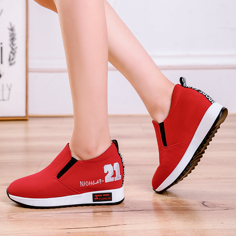 SWYIVY Casual Canvas Shoe Female 2019 Spring Wedge Heel Lady shoe Comfortable Breathable Lightweight Fashion Woman Black Sneaker