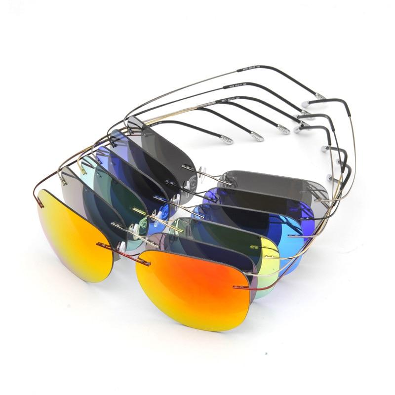 New Fashion Brand Titanium Ultra Light Rimless Polarized Sunglasses<br><br>Aliexpress
