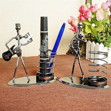 Music Performers Desk Pen Holder Metal Pencil Stand Student Office Stationery Accessories Guitar Saxophone Crafts Miniatures