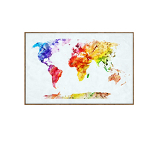 Cartoon colorful world map Canvas Art Print Painting Poster, Wall Pictures for Home Decoration, Wall decor Can be customized