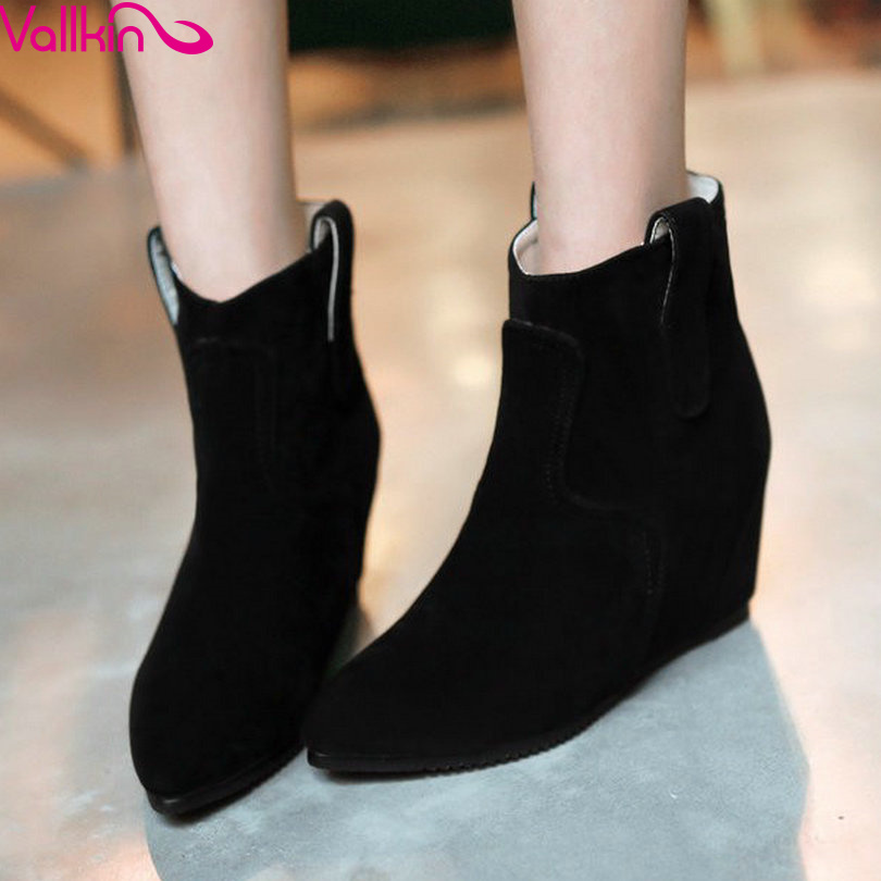 QUTAA Gray Fashion Ladies Autumn Shoes Wedge High Heel Women Ankle Boots Woman Motorcycle Boot Size 34-43<br><br>Aliexpress