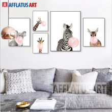 AFFLATUS Kawaii Animal Bubbles Horse Giraffe Dog Canvas Painting For Kids Room Nursery Art Print Poster Wall Pictures Baby Room