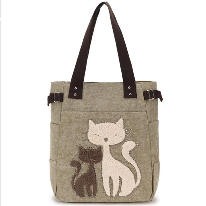 M529  Women Bag Character Fashion Cartoon Double Cat Mather And Daby Printing Lady Beach Bag Shopping Bag Big Shoulder Bag <br>