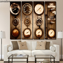 4 piece canvas art vintage dash meter wall pictures for living room canvas floral paintings Free shipping/up-1413D