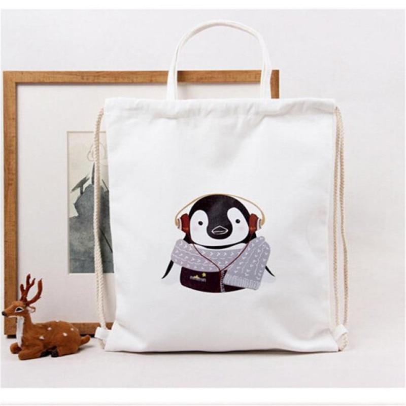 Women Messenger Bags Handbag Ladies Cute Penguin Pattern Drawstring Shoulder Shopping Spacious Dual-use bolsas bolsos mujer 9NEW<br><br>Aliexpress