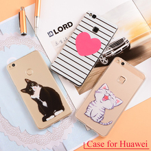 TPU Phone Case For Huawei P7 P8 P9 P10 Lite Plus Honor 4C 5C 6 7 8 Y3 Y5 Y6 ii Pro Mate9 Nova 4A 5A 5X 6X Cover Cases Floral Cat