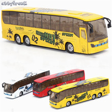 Abbyfrank 1:50 Baby Toy Car Model Light Music Simulation Pull Back City Bus Early Education Toys For Kids Brinquedos Menino(China)