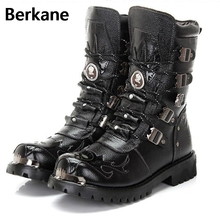 Army Boots Men Military Boots Genuine Leather Winter Black Cow Split Metal Gothic Punk Boots Male Shoes Motorcycle Botas Hombre(China)