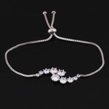 Round Cut Zircon Crystal Adjustable Allure Bracelets for Women in Silver Color or Assorted Gold Colors