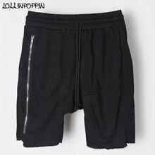 955e70563ee7 Side Long Zipper Men Drop Crotch Shorts Hip Hop Streetwear Knee Length  Elastic Waist Zippered Hip