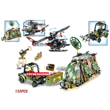 Modern military black gold Attack desert supply stations building block army figures helicopter bricks toys for children gifts
