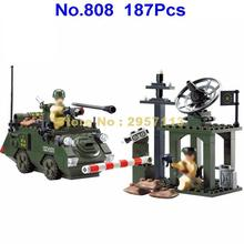 808 187pcs Military Army Panzer Tank Sentry Post Enlighten Building Blocks Brick Toy(China)