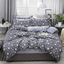 Aloe Cotton Stars Pattern Duvet Cover & Flat Bed Sheet & Pillowcase Soft Skin-friendly Bedding Set Home Textile Wholesale(China)