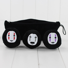 Japan Anime Spirited Away Plush Toys No Face Man Dolls With Pea Pod Zippered Bag Collectible Ornaments